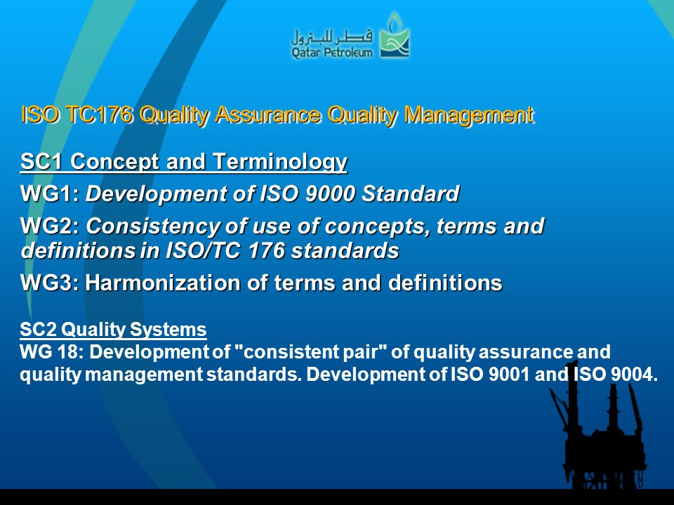 ISO TC176 Quality Assurance Quality Management SC1 Concept and Terminology WG1: Development of ISO 9000 Standard WG2: Consistency of use of concepts,