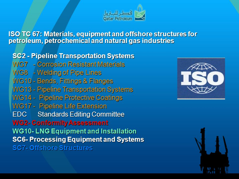 ISO TC 67: Materials, equipment and offshore structures for petroleum, petrochemical and natural gas industries SC2 - Pipeline Transportation Systems