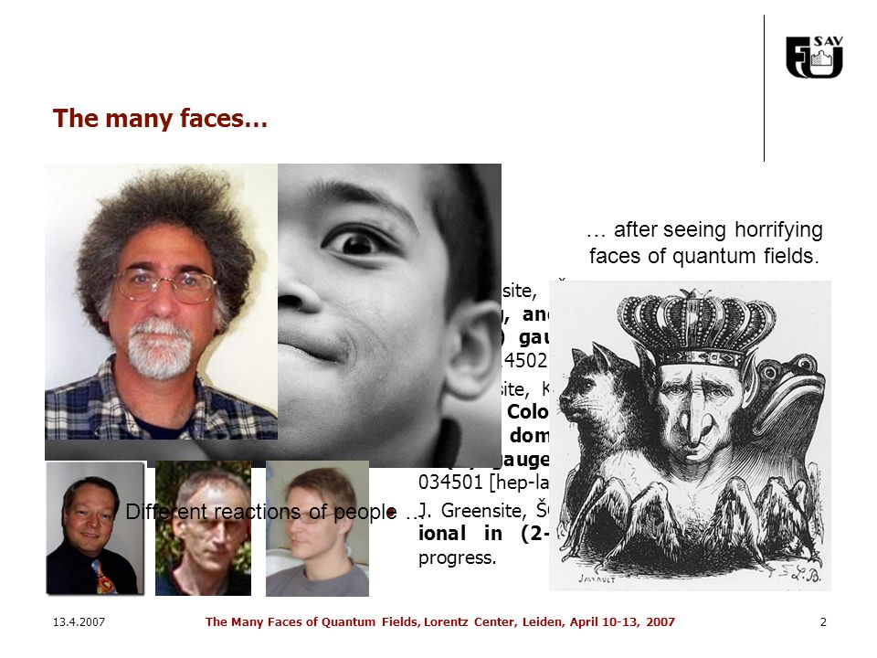 13.4.2007The Many Faces of Quantum Fields, Lorentz Center, Leiden, April 10-13, 20072 The many faces… J. Greensite, ŠO: Vortices, symmetry breaking, a