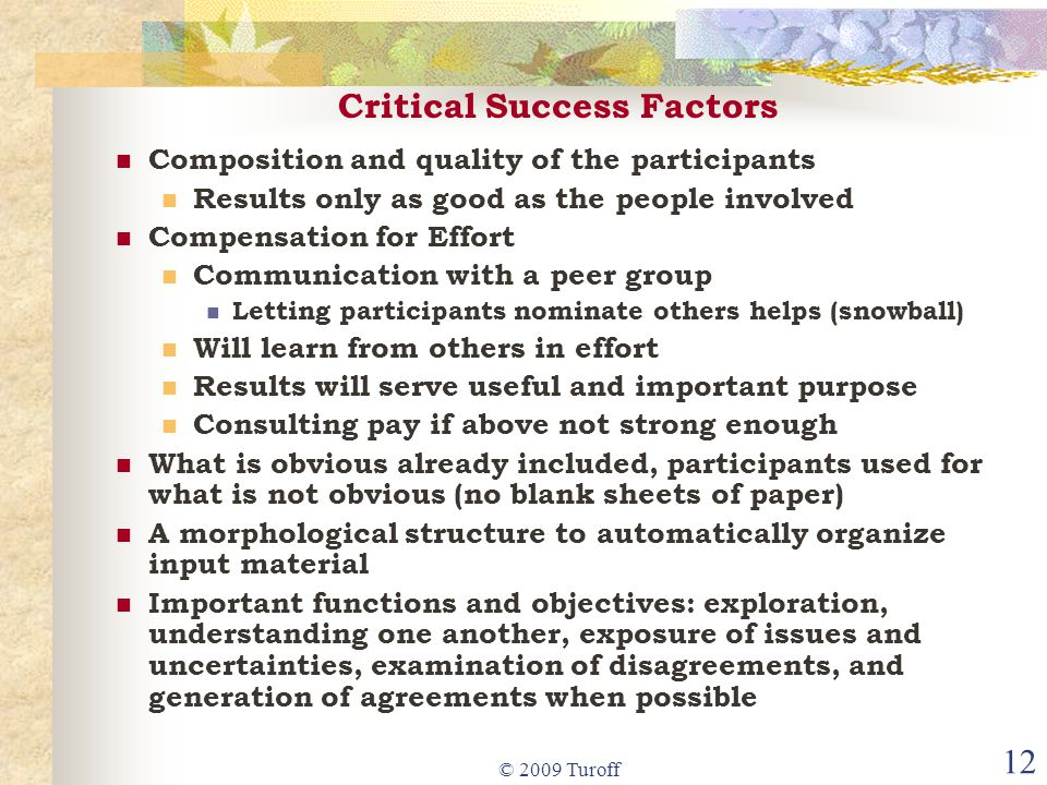 © 2009 Turoff 12 Critical Success Factors Composition and quality of the participants Results only as good as the people involved Compensation for Effort Communication with a peer group Letting participants nominate others helps (snowball) Will learn from others in effort Results will serve useful and important purpose Consulting pay if above not strong enough What is obvious already included, participants used for what is not obvious (no blank sheets of paper) A morphological structure to automatically organize input material Important functions and objectives: exploration, understanding one another, exposure of issues and uncertainties, examination of disagreements, and generation of agreements when possible