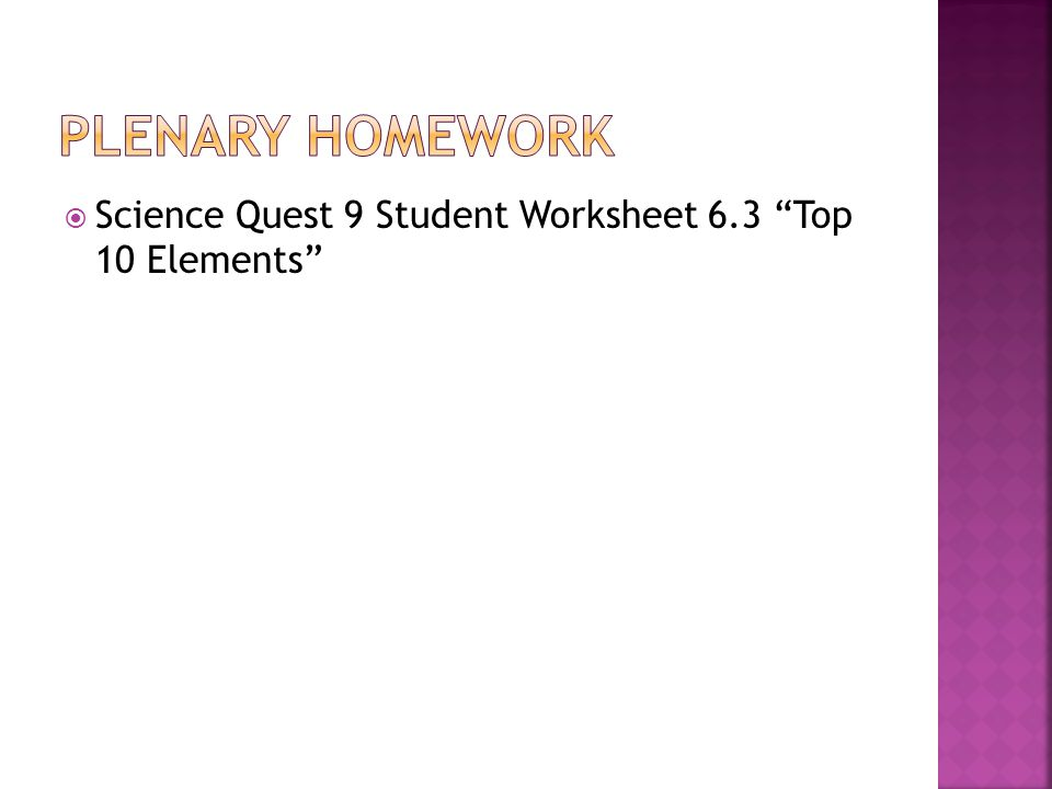 " Science Quest 9 Student Worksheet 6.3 ""Top 10 Elements"""