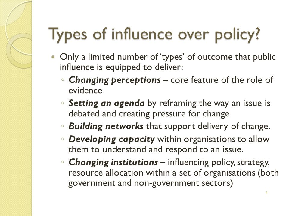 Types of influence over policy.