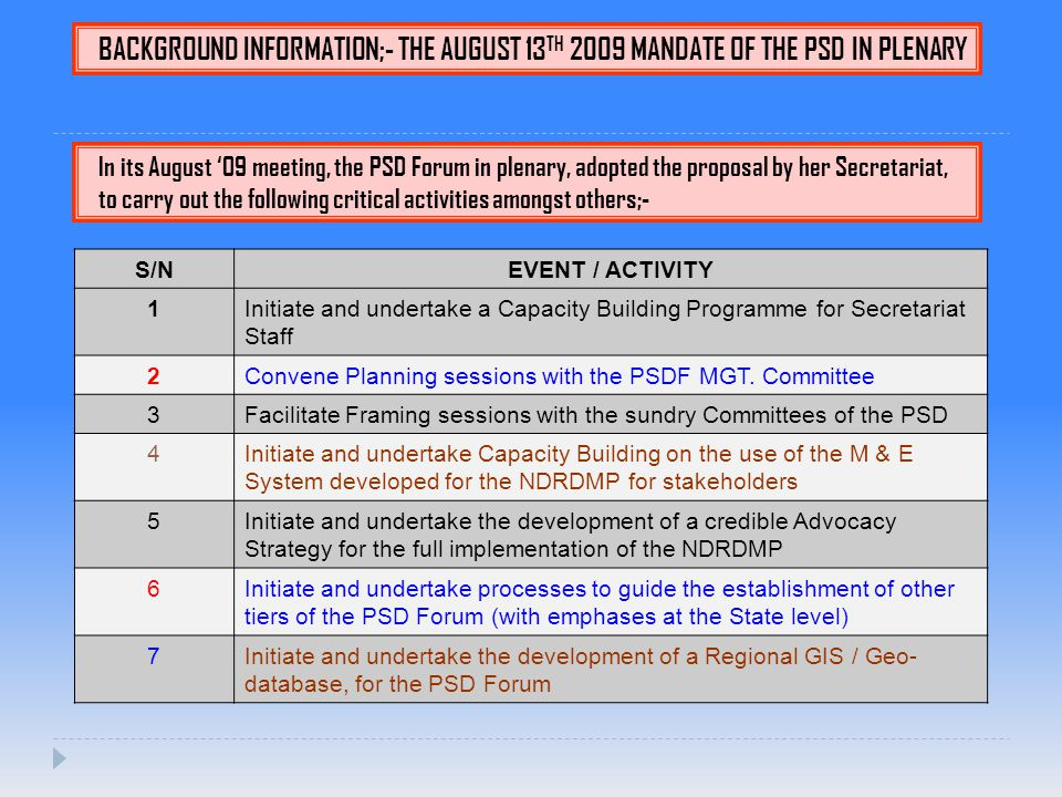 BACKGROUND INFORMATION;- THE AUGUST 13 TH 2009 MANDATE OF THE PSD IN PLENARY In its August '09 meeting, the PSD Forum in plenary, adopted the proposal by her Secretariat, to carry out the following critical activities amongst others;- S/NEVENT / ACTIVITY 1Initiate and undertake a Capacity Building Programme for Secretariat Staff 2Convene Planning sessions with the PSDF MGT.