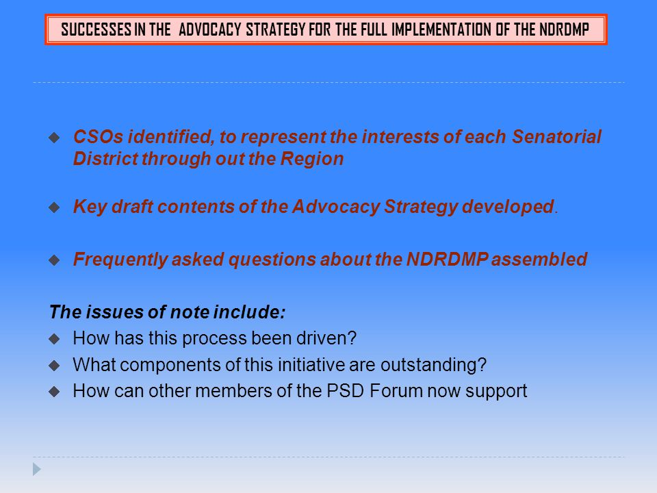 SUCCESSES IN THE ADVOCACY STRATEGY FOR THE FULL IMPLEMENTATION OF THE NDRDMP  CSOs identified, to represent the interests of each Senatorial District through out the Region  Key draft contents of the Advocacy Strategy developed.