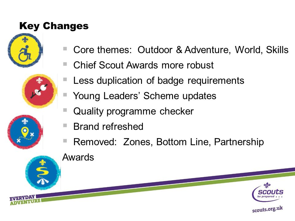 Key Changes  Core themes: Outdoor & Adventure, World, Skills  Chief Scout Awards more robust  Less duplication of badge requirements  Young Leaders' Scheme updates  Quality programme checker  Brand refreshed  Removed: Zones, Bottom Line, Partnership Awards