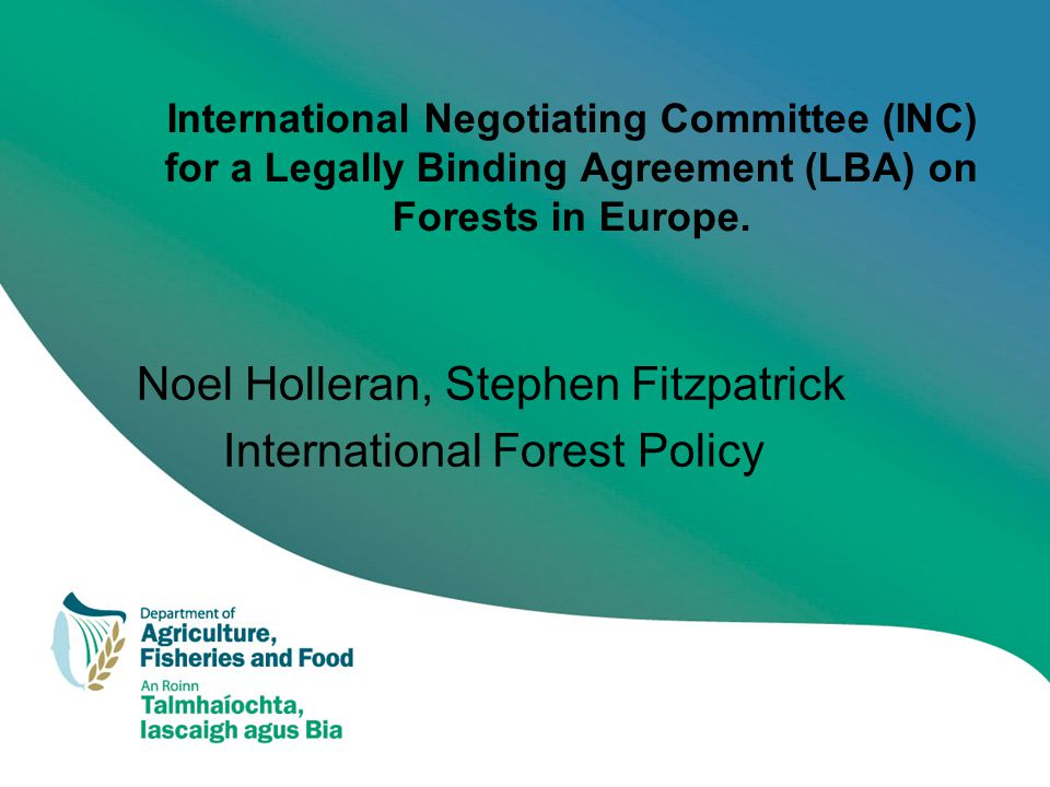 International Negotiating Committee (INC) for a Legally Binding Agreement (LBA) on Forests in Europe.