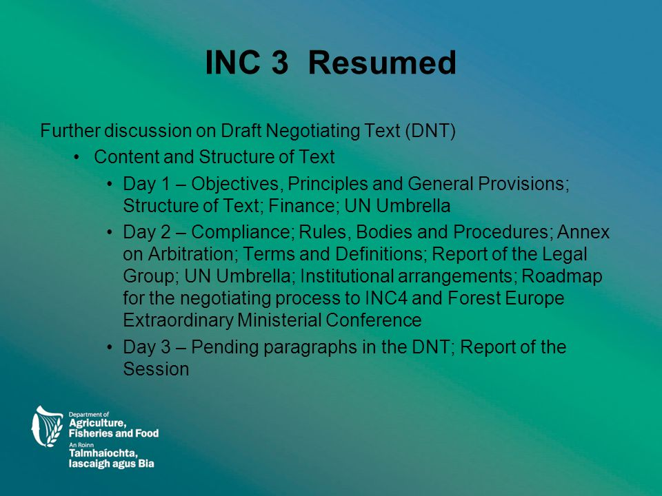 Main issues remaining - 1 Structure of the DNT Terms and Definitions Reporting and Monitoring Provisions Compliance Provisions