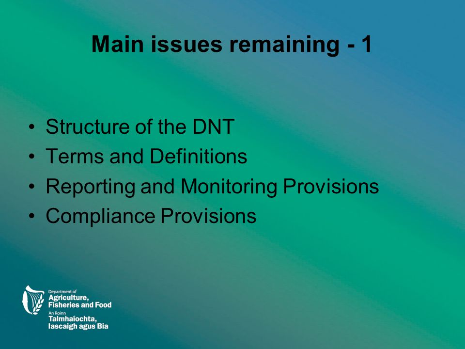 Main issues remaining - 2 Finance arrangements Secretariat – Joint, Interim, Permanent, Location UN Umbrella issue Entry into Force/ Triggering mechanisms Arbitration Annex