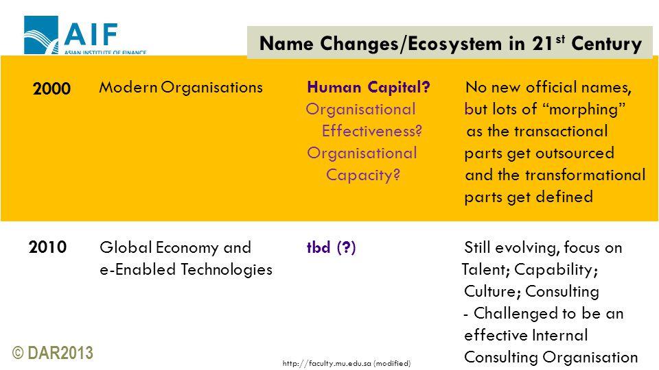 © DAR2013 Modern Organisations Human Capital.