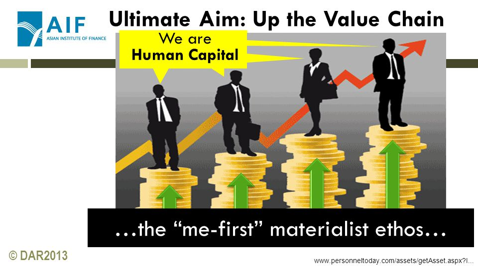 """© DAR2013 www.personneltoday.com/assets/getAsset.aspx?I... Ultimate Aim: Up the Value Chain …the """"me-first"""" materialist ethos… We are Human Capital"""