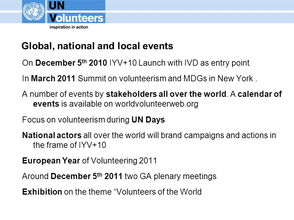 Global, national and local events On December 5 th 2010 IYV+10 Launch with IVD as entry point In March 2011 Summit on volunteerism and MDGs in New Yor