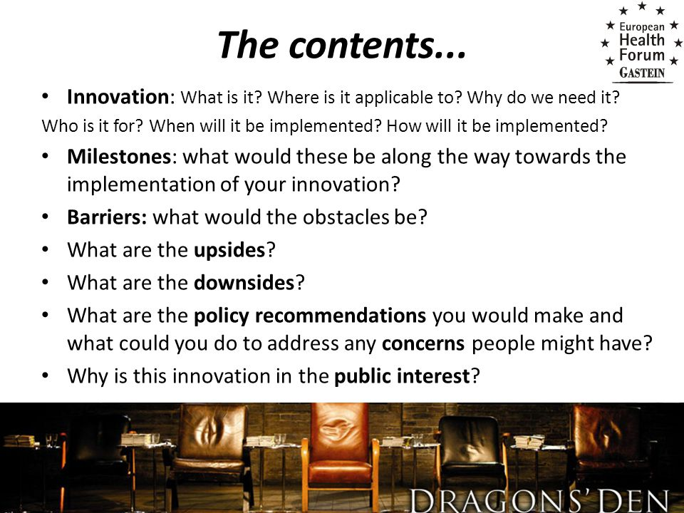 The contents...Innovation: What is it. Where is it applicable to.