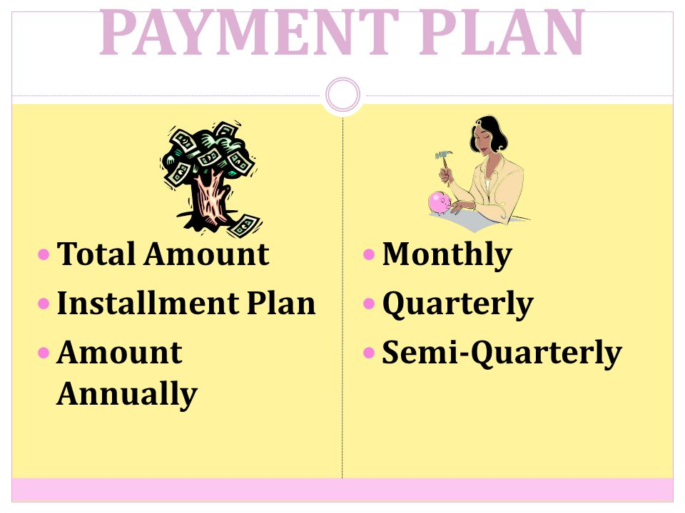 PAYMENT PLAN Total Amount Installment Plan Amount Annually Monthly Quarterly Semi-Quarterly