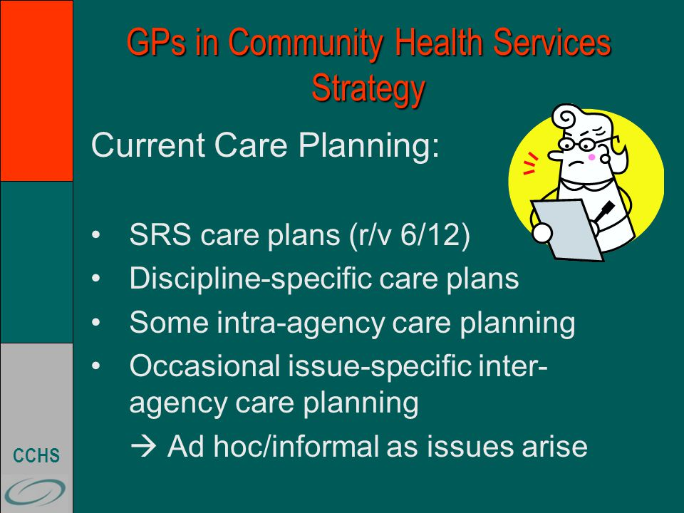 CCHS GPs in Community Health Services Strategy Where are we at now with ICP.