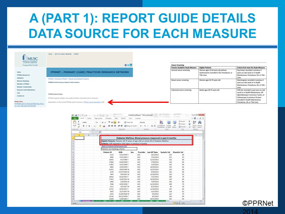 ©PPRNet 2014 A (PART 1): REPORT GUIDE DETAILS DATA SOURCE FOR EACH MEASURE