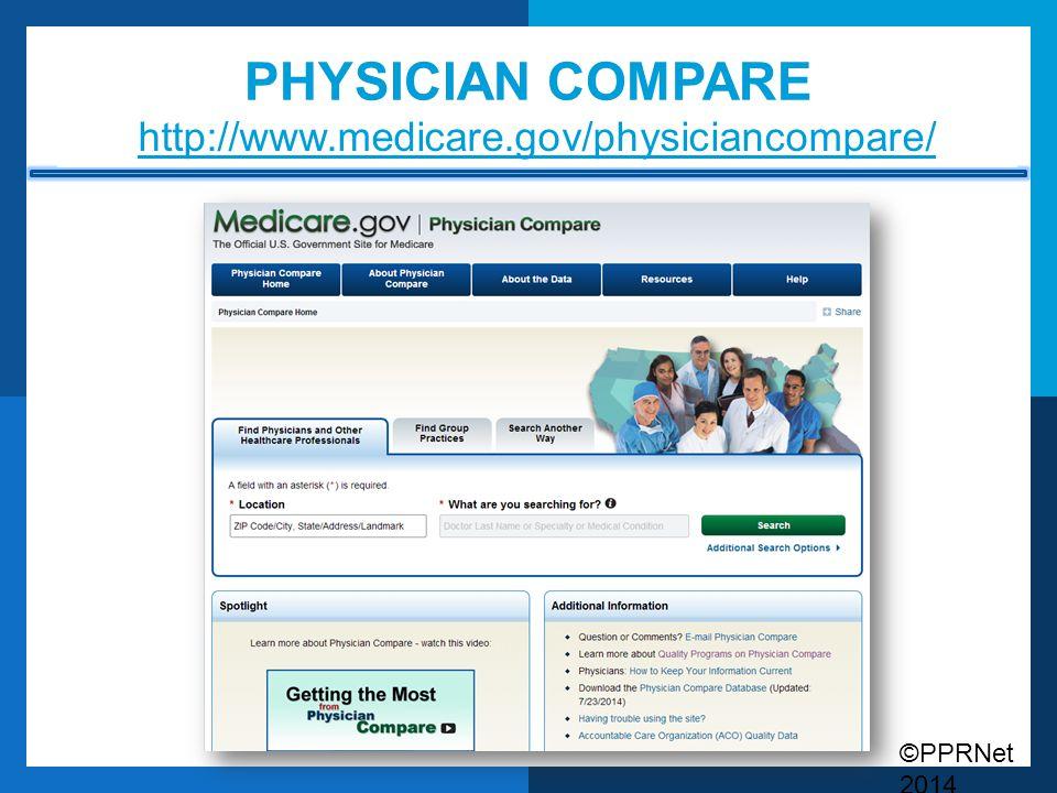 ©PPRNet 2014 PHYSICIAN COMPARE http://www.medicare.gov/physiciancompare/