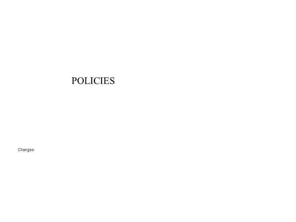 POLICIES Changes:
