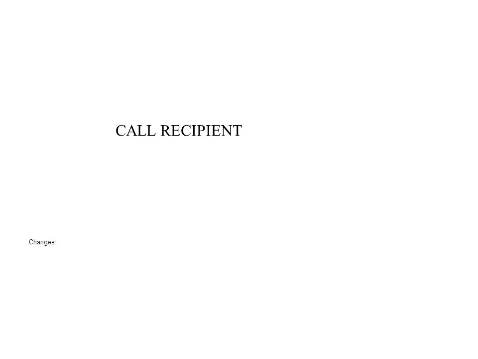 CALL RECIPIENT Changes: