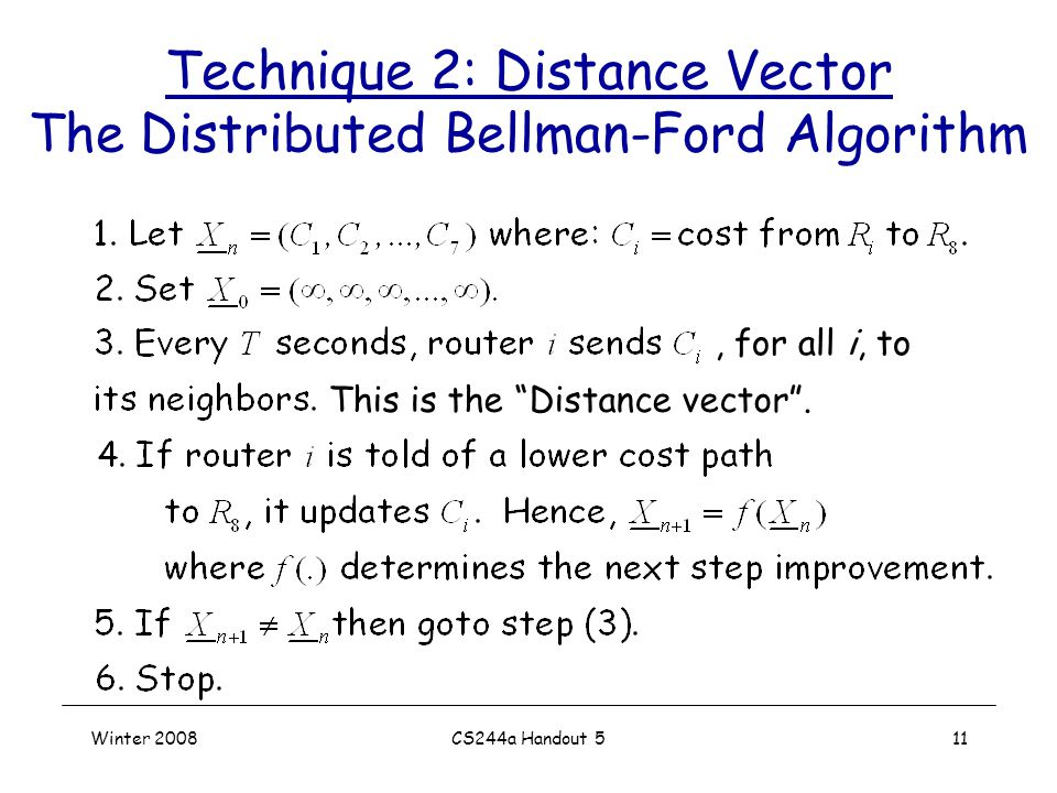 Winter 2008CS244a Handout 511 Technique 2: Distance Vector The Distributed Bellman-Ford Algorithm This is the Distance vector ., for all i, to