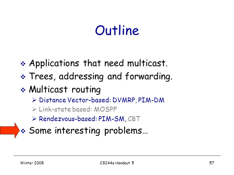 Winter 2008CS244a Handout 557 Outline  Applications that need multicast.