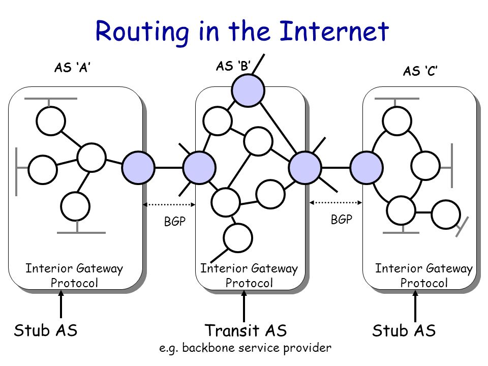 Courtesy: Nick McKeown, Stanford Umar Kalim, NIIT 4 Routing in the Internet Stub AS Transit AS e.g. backbone service provider Stub AS AS 'A' AS 'B' AS