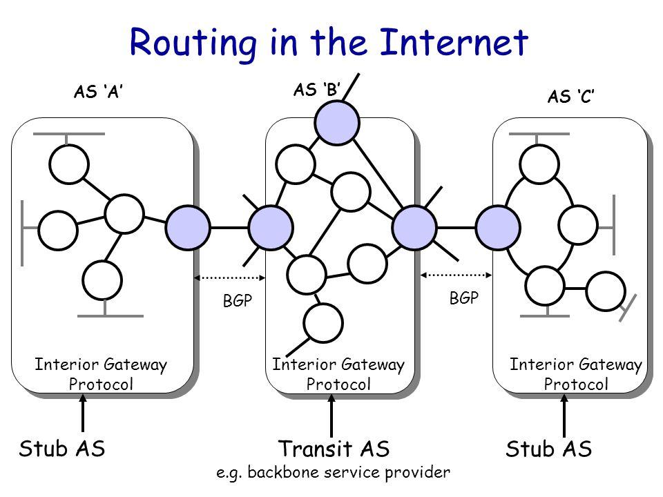 Courtesy: Nick McKeown, Stanford Umar Kalim, NIIT 4 Routing in the Internet Stub AS Transit AS e.g.