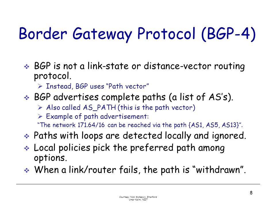 Courtesy: Nick McKeown, Stanford Umar Kalim, NIIT 9 Customers and Providers Customer pays provider for access to the Internet Customer may not always need BGP provider customer IP traffic provider customer