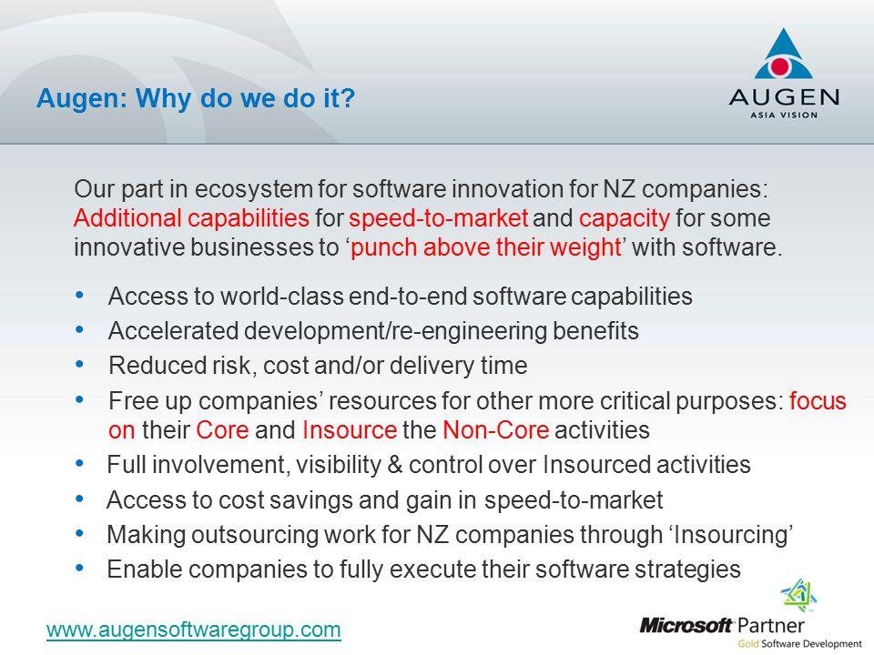 Our part in ecosystem for software innovation for NZ companies: Additional capabilities for speed-to-market and capacity for some innovative businesses to 'punch above their weight' with software.