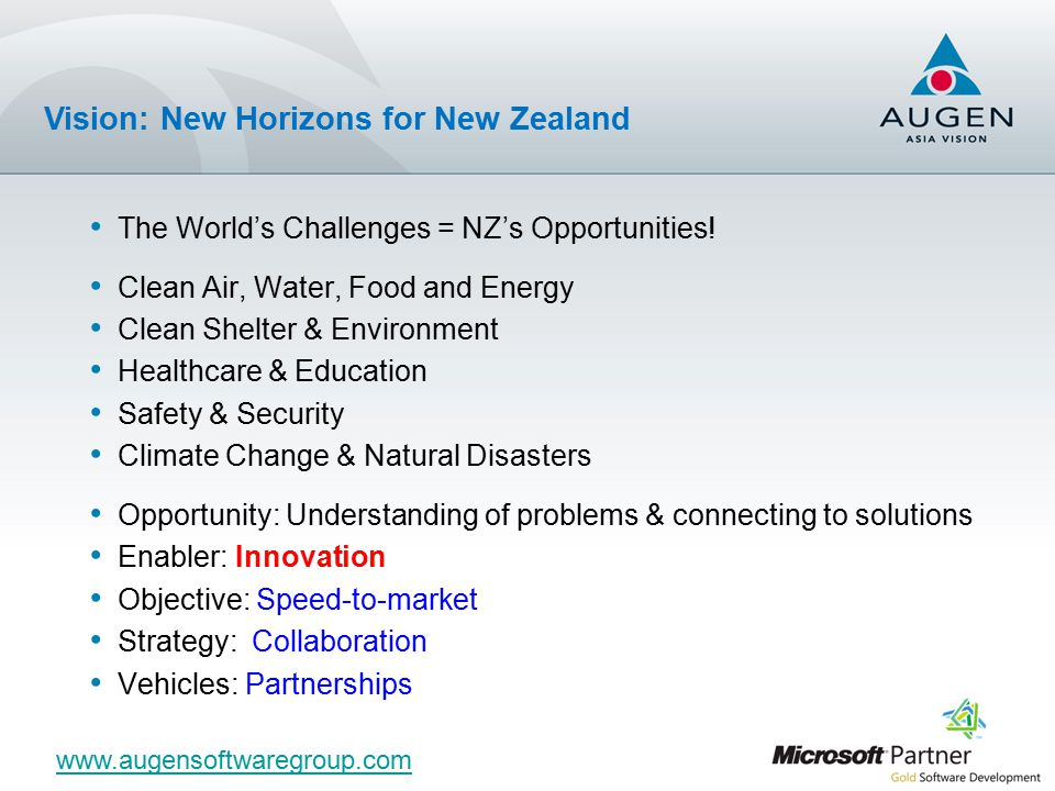 The World's Challenges = NZ's Opportunities.