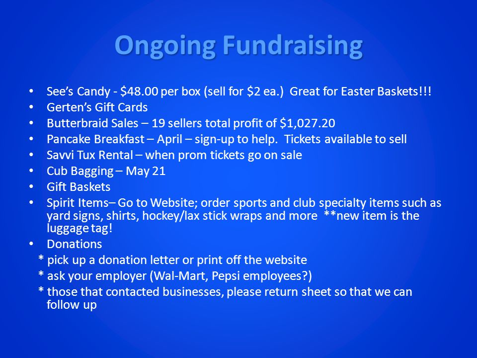 Ongoing Fundraising See's Candy - $48.00 per box (sell for $2 ea.) Great for Easter Baskets!!.