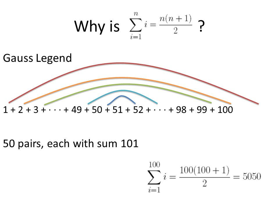 Why is ? Gauss Legend 1 + 2 + 3 + ∙ ∙ ∙ + 49 + 50 + 51 + 52 + ∙ ∙ ∙ + 98 + 99 + 100 50 pairs, each with sum 101