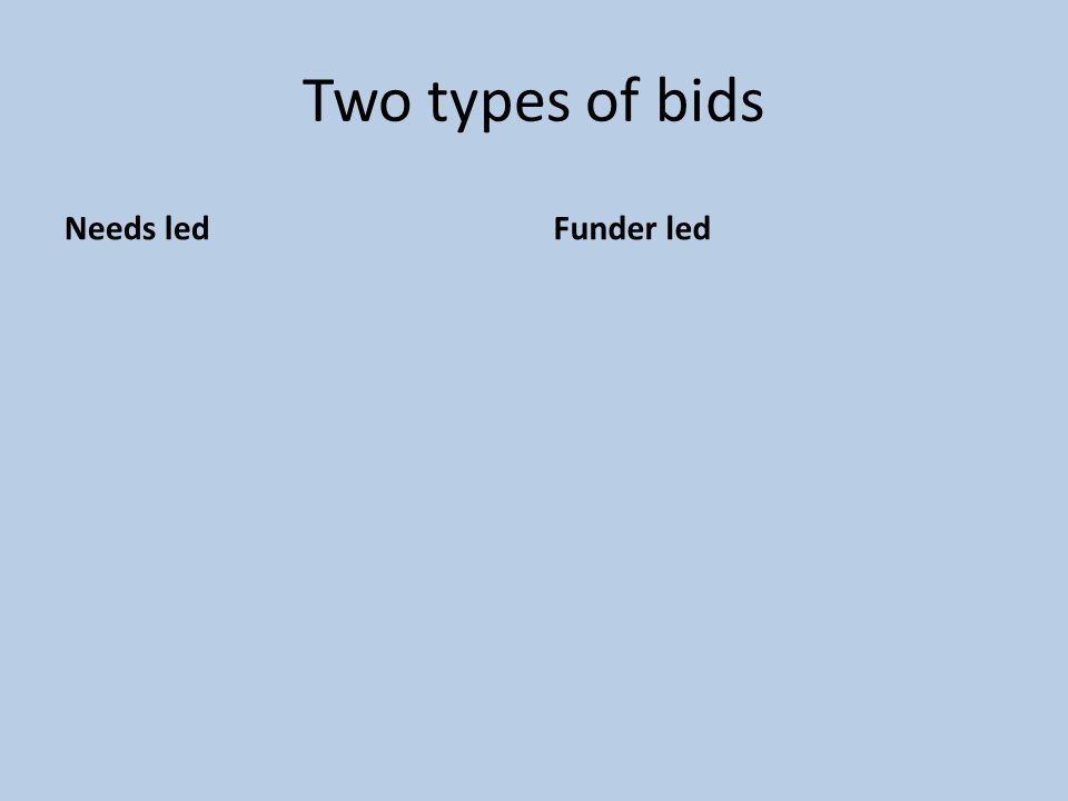 Two types of bids Needs ledFunder led