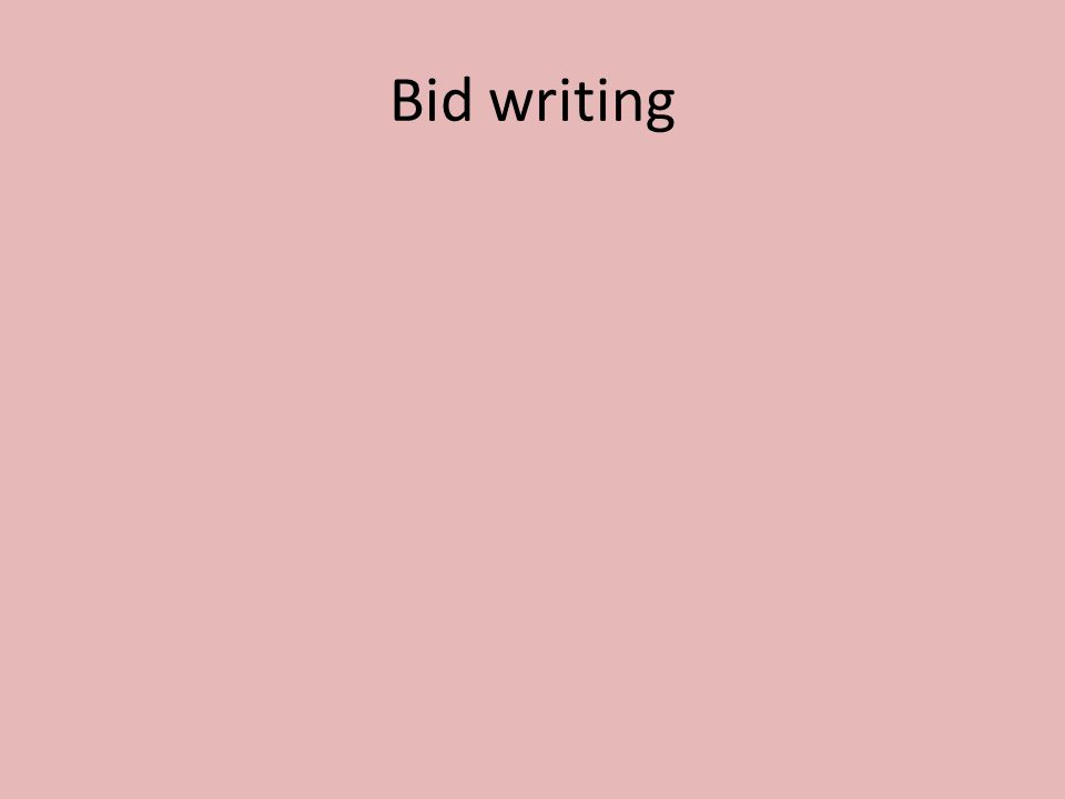 Bid writing