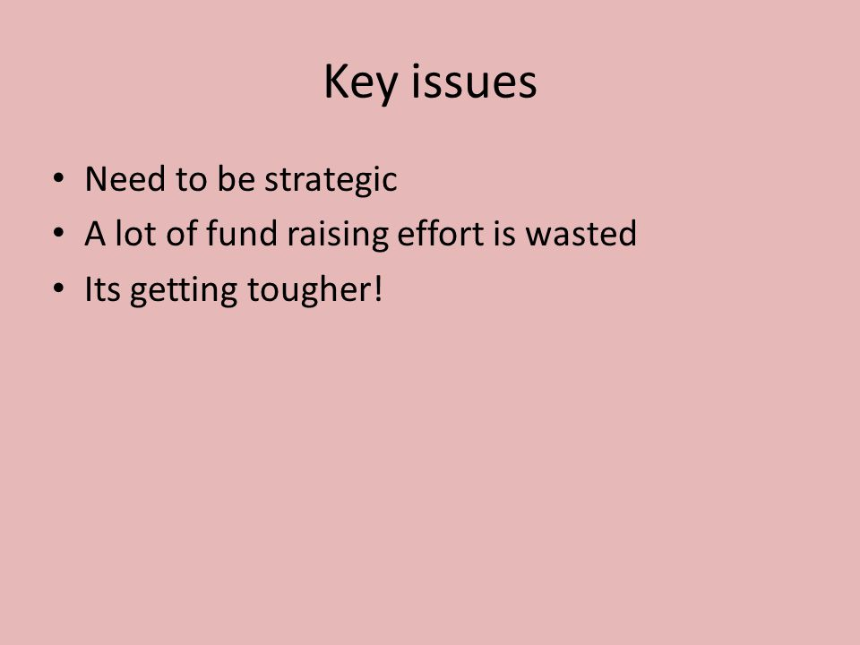 Key issues Need to be strategic A lot of fund raising effort is wasted Its getting tougher.