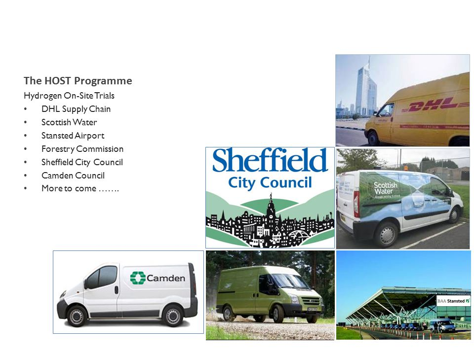 The HOST Programme Hydrogen On-Site Trials DHL Supply Chain Scottish Water Stansted Airport Forestry Commission Sheffield City Council Camden Council More to come …….