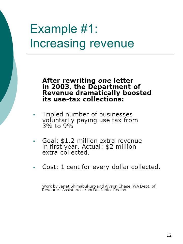 12 Example #1: Increasing revenue After rewriting one letter in 2003, the Department of Revenue dramatically boosted its use-tax collections:  Tripled number of businesses voluntarily paying use tax from 3% to 9%  Goal: $1.2 million extra revenue in first year.