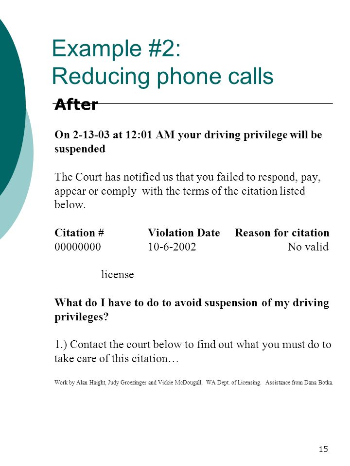 15 After On 2-13-03 at 12:01 AM your driving privilege will be suspended The Court has notified us that you failed to respond, pay, appear or comply with the terms of the citation listed below.