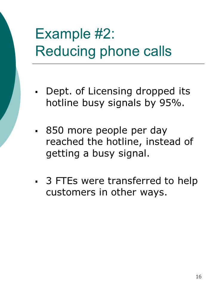 16 Example #2: Reducing phone calls  Dept. of Licensing dropped its hotline busy signals by 95%.