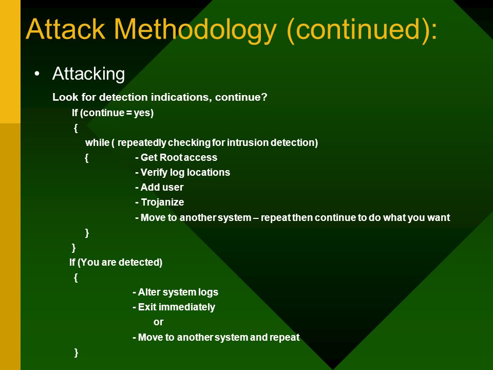Attack Methodology (continued): Attacking Look for detection indications, continue.