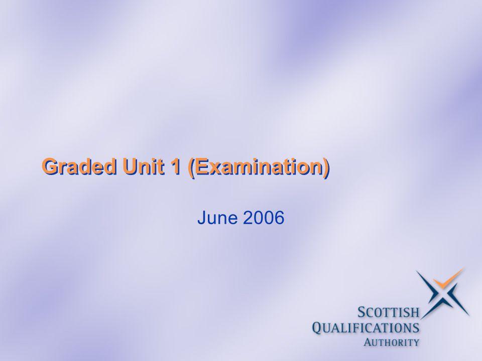 Graded Unit 1 (Examination) June 2006