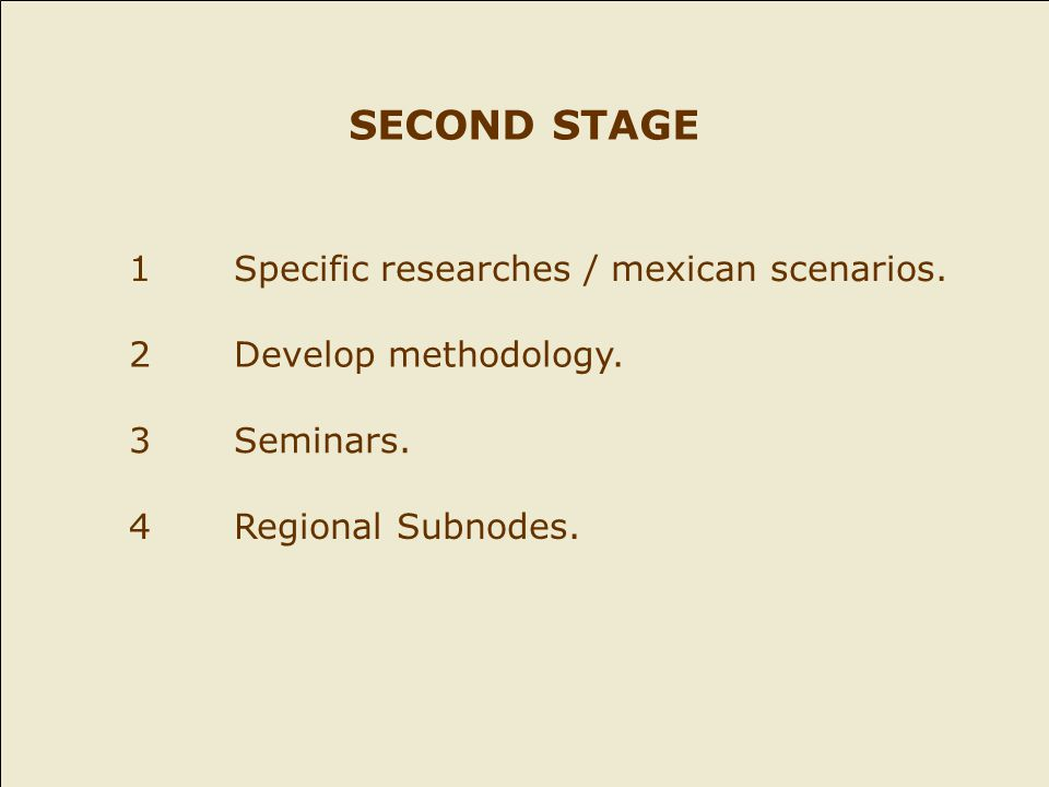 SECOND STAGE 1Specific researches / mexican scenarios.