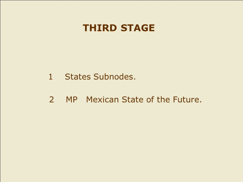 1 States Subnodes. 2 MP Mexican State of the Future. THIRD STAGE