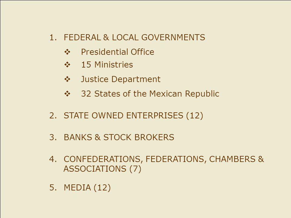 1.FEDERAL & LOCAL GOVERNMENTS  Presidential Office  15 Ministries  Justice Department  32 States of the Mexican Republic 2.STATE OWNED ENTERPRISES (12) 3.BANKS & STOCK BROKERS 4.CONFEDERATIONS, FEDERATIONS, CHAMBERS & ASSOCIATIONS (7) 5.MEDIA (12)