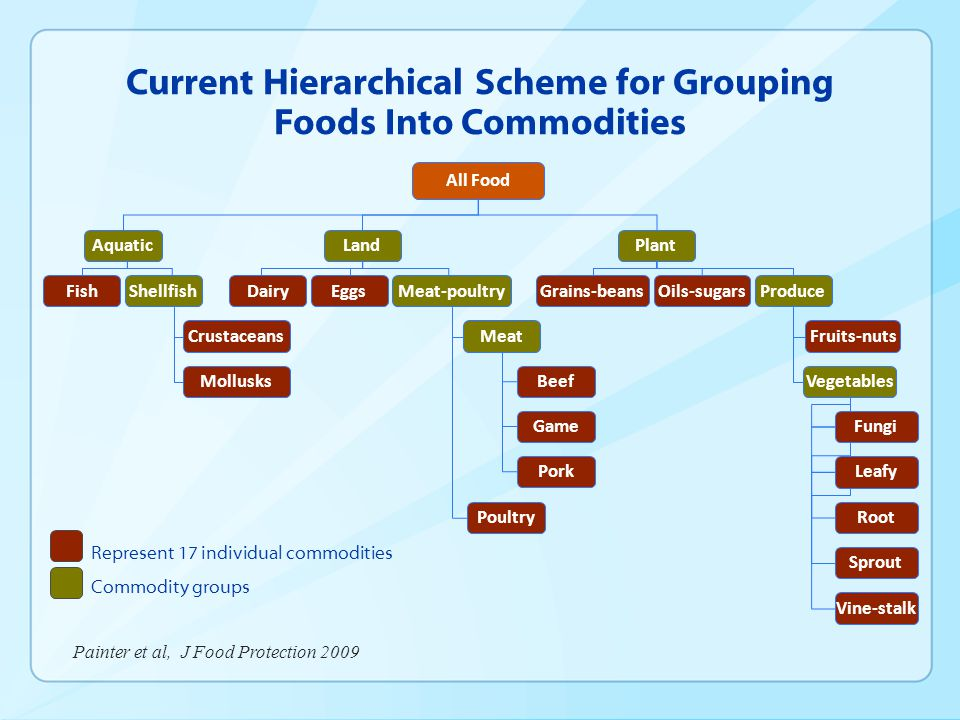 Current Hierarchical Scheme for Grouping Foods Into Commodities Represent 17 individual commodities Commodity groups All Food AquaticLandPlant Shellfi