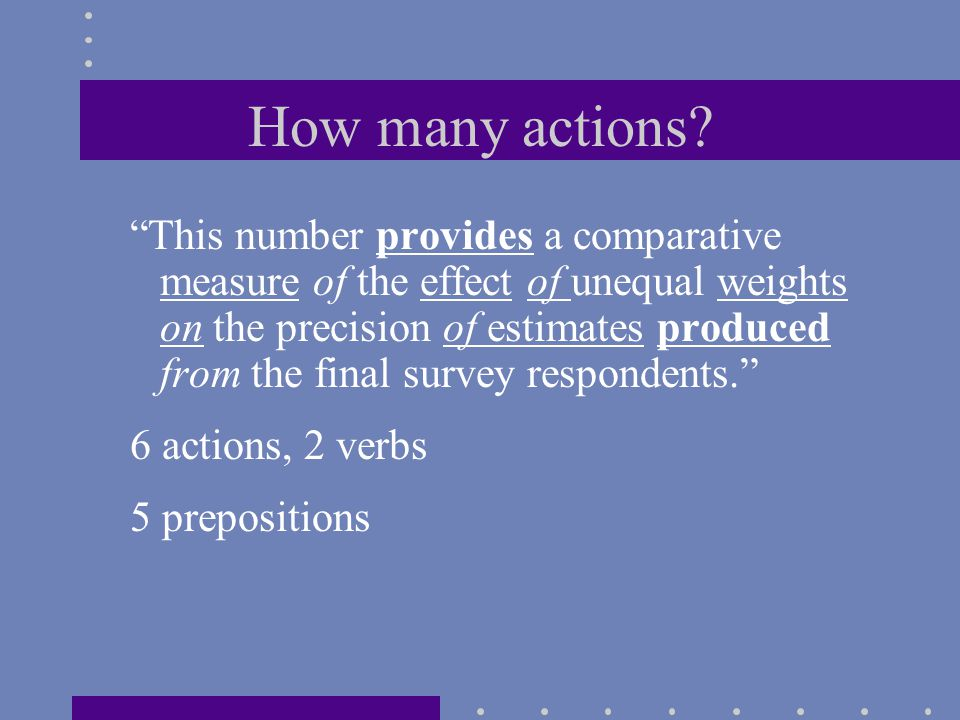 """How many actions? """"This number provides a comparative measure of the effect of unequal weights on the precision of estimates produced from the final s"""