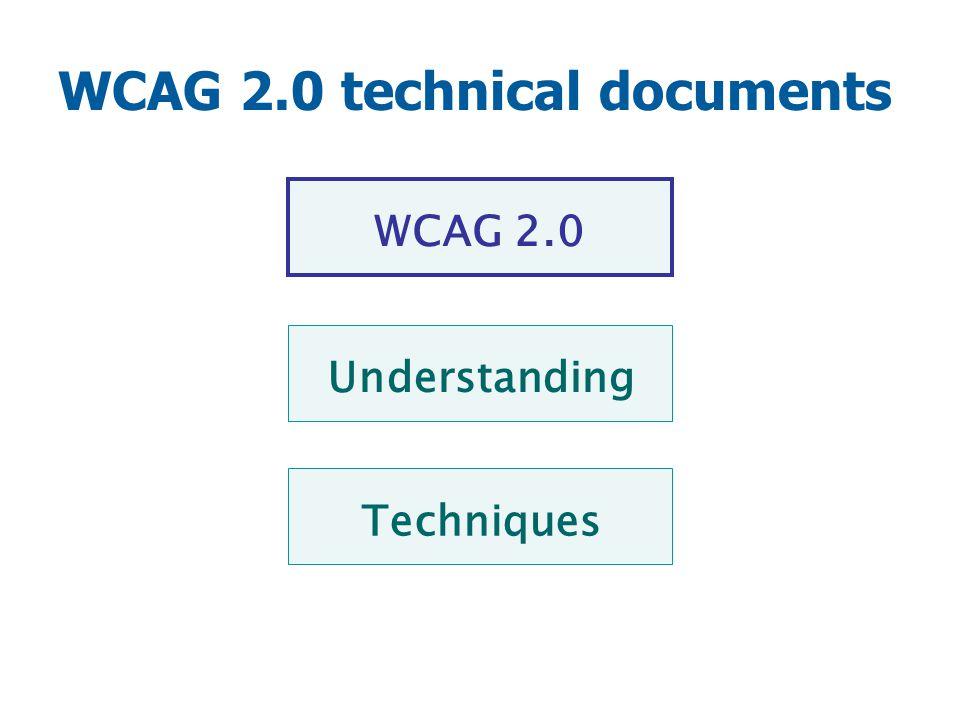 WCAG 2.0 technical documents Techniques WCAG 2.0 Understanding
