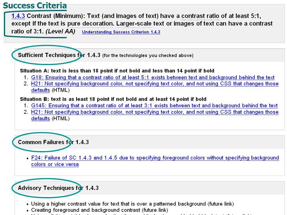 Quick Reference screen shot Success Criteria