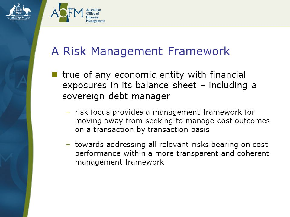 A Risk Management Framework true of any economic entity with financial exposures in its balance sheet – including a sovereign debt manager –risk focus