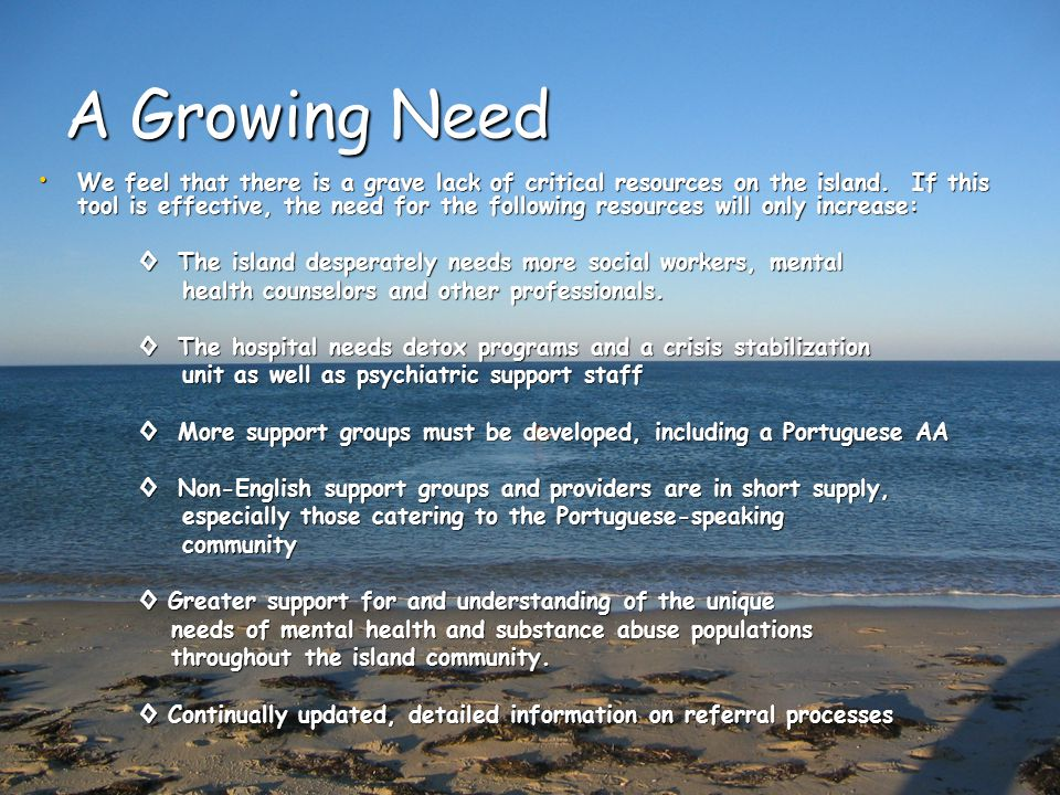 A Growing Need We feel that there is a grave lack of critical resources on the island.