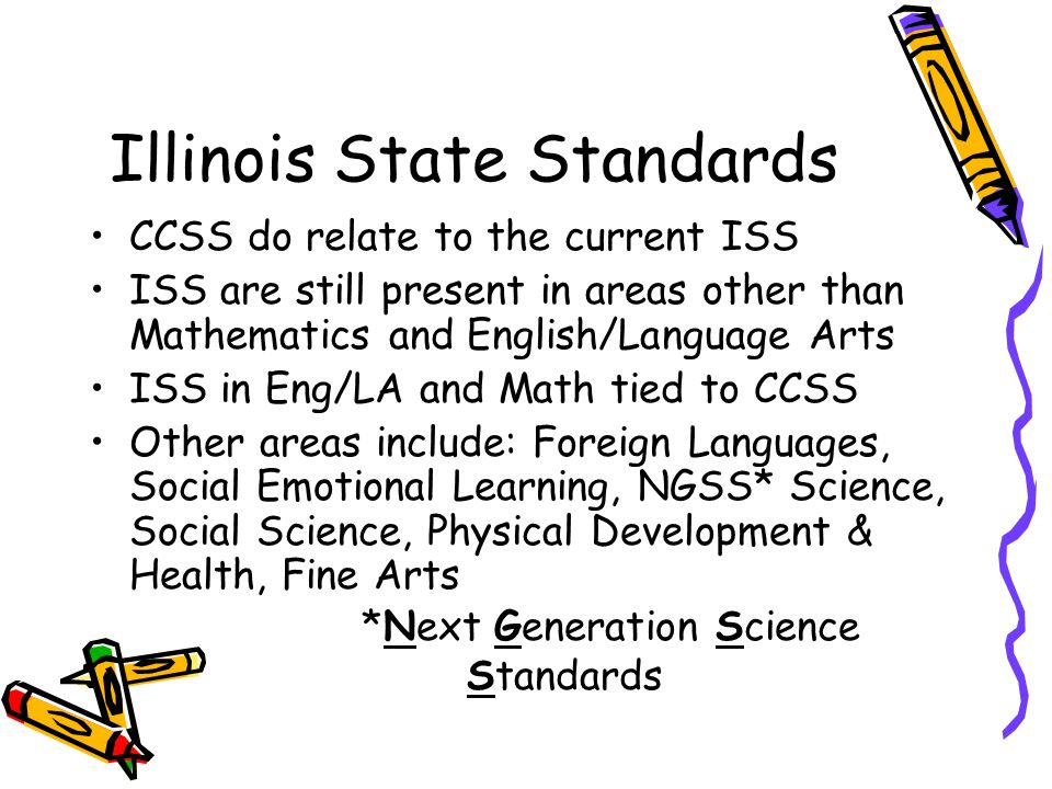 Illinois State Standards CCSS do relate to the current ISS ISS are still present in areas other than Mathematics and English/Language Arts ISS in Eng/LA and Math tied to CCSS Other areas include: Foreign Languages, Social Emotional Learning, NGSS* Science, Social Science, Physical Development & Health, Fine Arts *Next Generation Science Standards